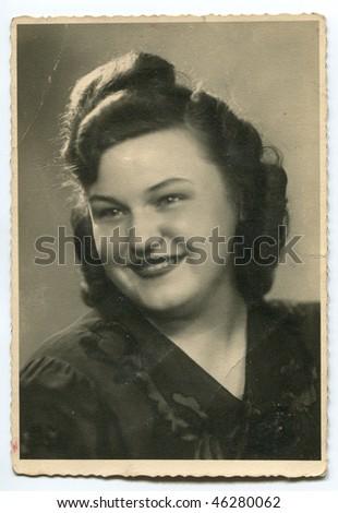 Vintage (circa 1940) woman's portrait - stock photo