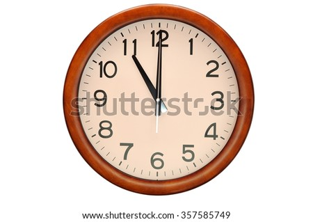 Vintage circle clock wooden frame isolate on white background - stock photo