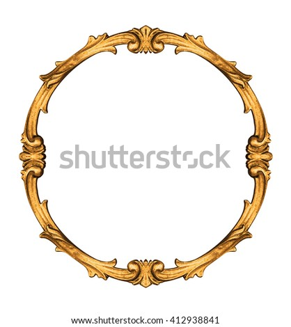 Vintage circle frame isolated on white background -Clipping Path - stock photo