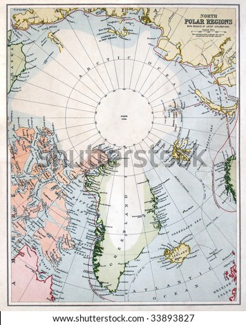 Vintage circumpolar map of the North Pole area, dated 1880 - stock photo