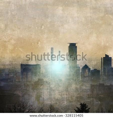 Vintage city skyline at sunset - stock photo
