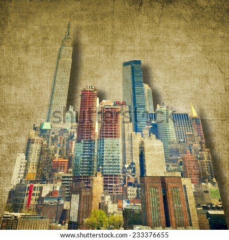 Vintage city skyline in sepia tones - stock photo