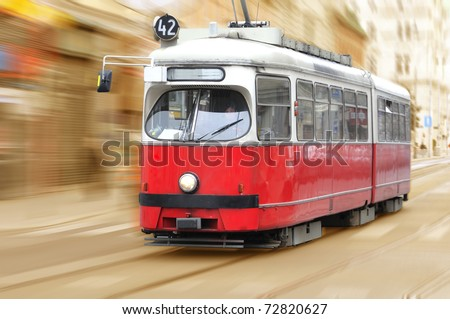 Vintage city tram on moving - stock photo