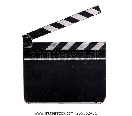 Vintage Clapperboard isolated on White Background. Front View of an old Cinema Clapperboard with Text Space. - stock photo