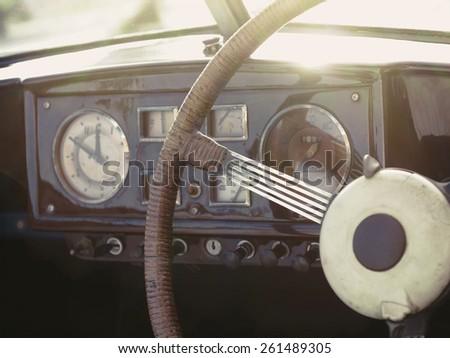 Vintage classic car interior  - stock photo