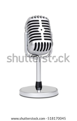 Vintage classic microphone isolated on white background with clipping path.
