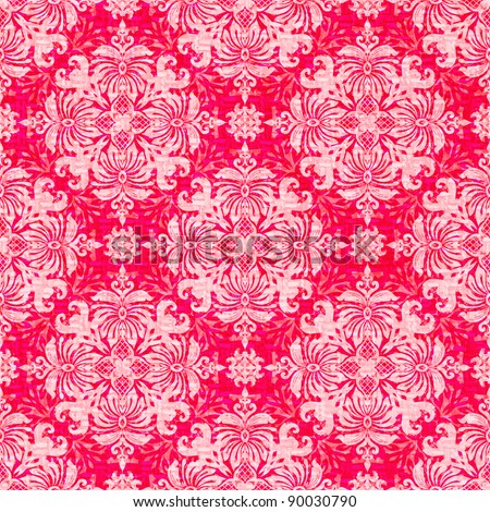 Vintage classic ornamental seamless wallpaper in red and pink - stock photo