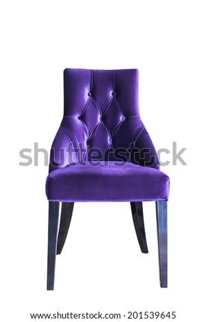 vintage classic velvet chair isolated on white - stock photo