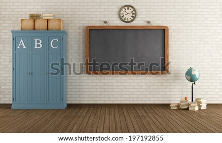 Vintage classroom with blackboard and wooden cabinets - rendering - stock photo