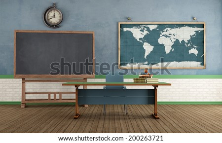Vintage classroom with blackboard teacher's desk and world map on wall - rendering - stock photo