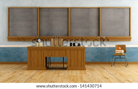 Vintage classroom with teacher's desk,  blackboard, and books on chair - rendering