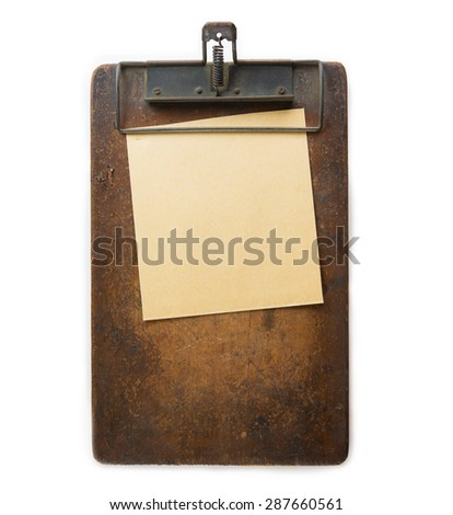 Vintage clipboard and memo paper Isolated on white. - stock photo