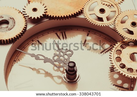 Vintage clock and details of the mechanism close-up - stock photo