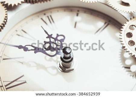 Vintage clock and details of the mechanism close-up