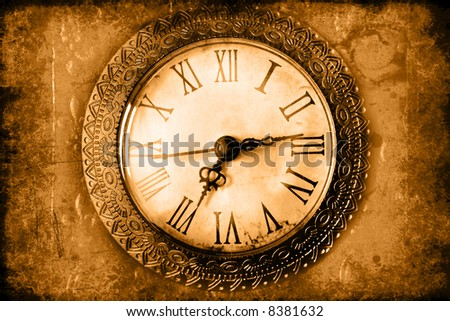 Vintage clock face: hands, wood. - stock photo