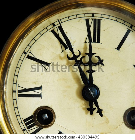 vintage clock face, isolated on a black background. Late 19th century - stock photo