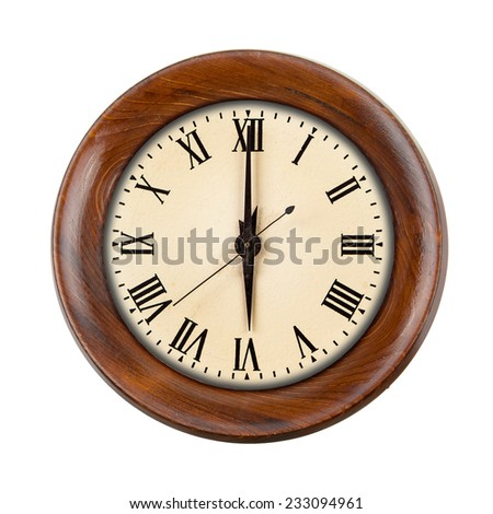 Vintage clock face showing six o'clock in wooden frame isolated over white - stock photo