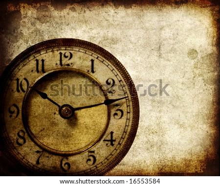 Vintage clock grunge background - stock photo