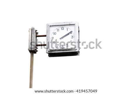 Vintage clock hanging with the pole on white background.