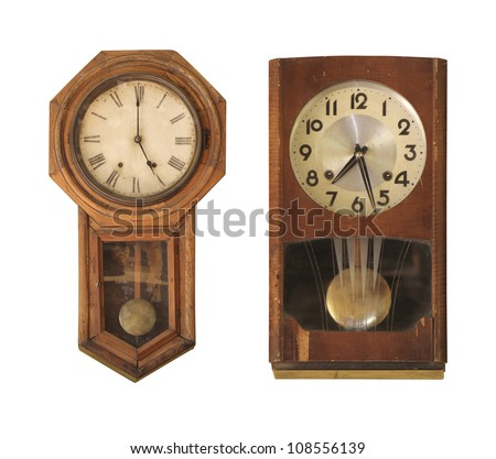 Vintage clock isolated on white. - stock photo