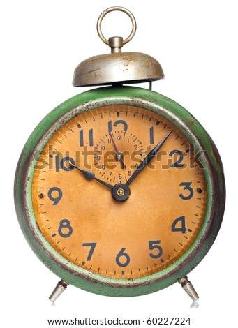vintage clock isolated on white - stock photo