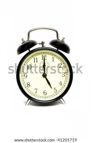 Vintage clock isolated on white ( five o'clock )