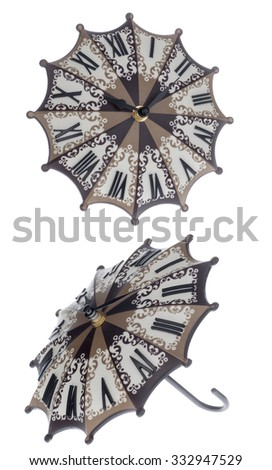 vintage clock looks like umbrella isolated on white background. Front and side view - stock photo