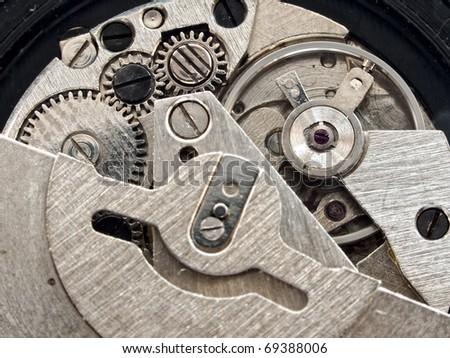 Vintage clock mechanism close-up shot - stock photo