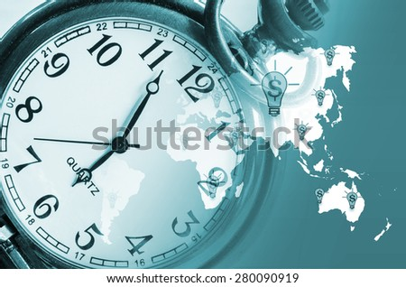 vintage clock on business world background. abstract world technology concept. - stock photo