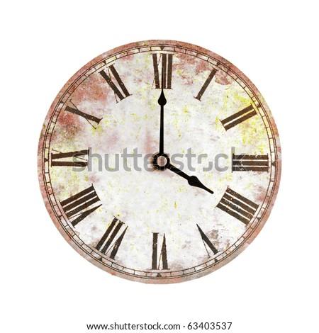 vintage clock on white background - stock photo