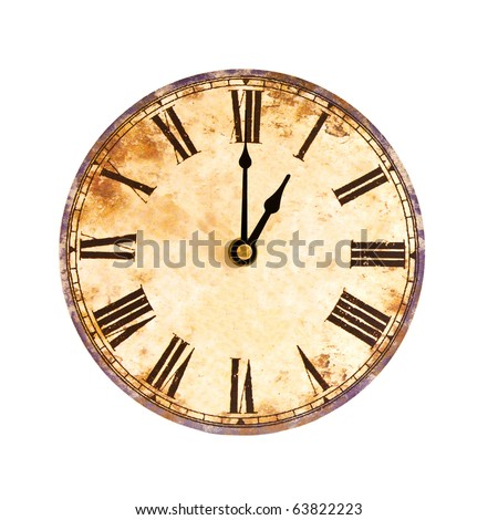 vintage clock on white background - stock photo