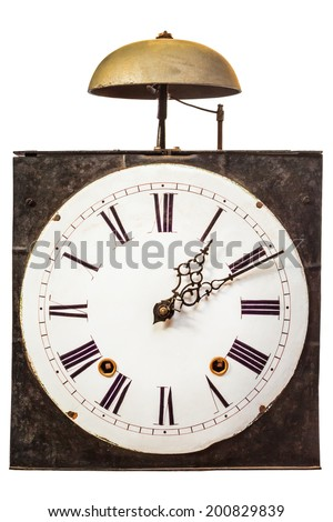 Vintage clock with one bell on top isolated on a white background - stock photo