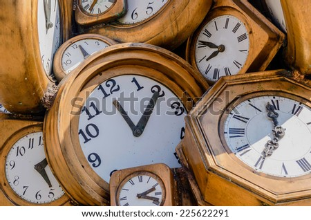Vintage clocks background. Pass of time concept - stock photo