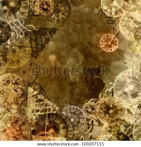 vintage clocks steam punk background illustration - stock photo