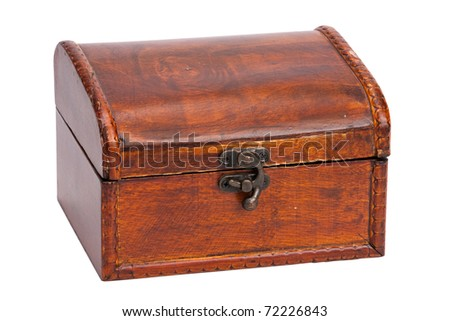 vintage closed wooden box with lock, isolated - stock photo