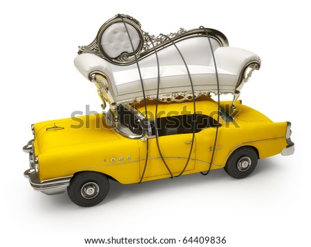 Vintage coach and taxi car - stock photo