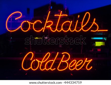 vintage cocktails and cold beer neon sign - stock photo