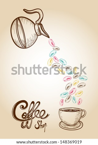 Vintage coffee cup and jar colorful beans illustration. - stock photo