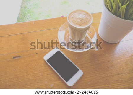 Vintage Coffee Espresso. Cup Of Coffee - stock photo