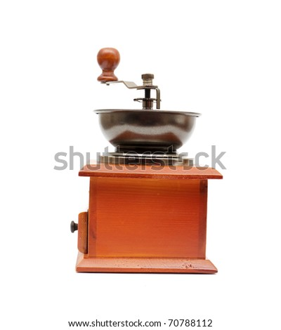 Vintage coffee grinder isolated on white background