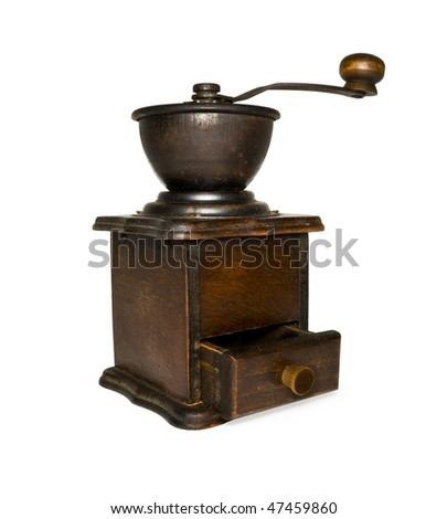 Vintage coffee grinder isolated on white + clipping path