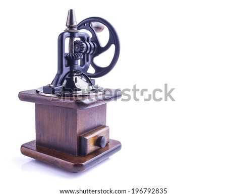Vintage coffee mill isolated on white. Clipping path included. - stock photo