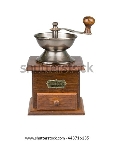 Vintage coffee mill isolated on white. Kitchen appliance.
