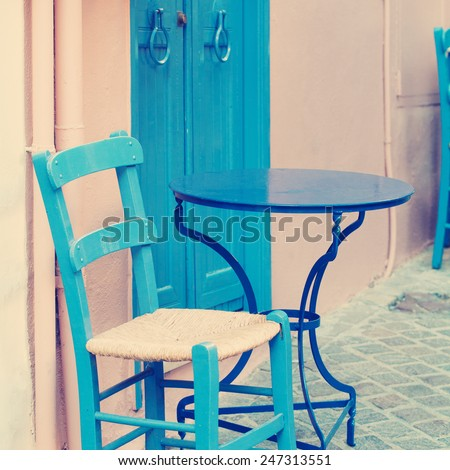 Vintage coffee shop. Impressions of Greece - stock photo