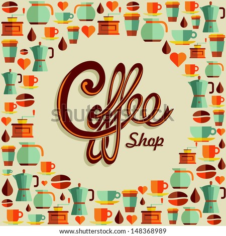 Vintage coffee shop text with flat icons background. - stock photo