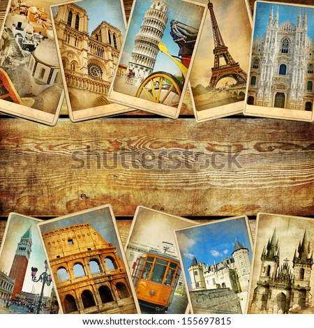 vintage collage cards with place for text - European travel  - stock photo