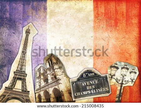 Vintage collage Paris and French flag - stock photo