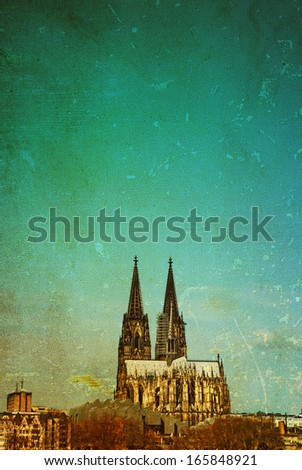 Vintage Cologne Cathedral in Germany - stock photo