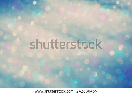 Vintage color abstract blurred bokeh with colorful heart symbol illustration. - stock photo