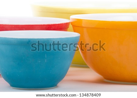 Vintage Colored Bowls - stock photo